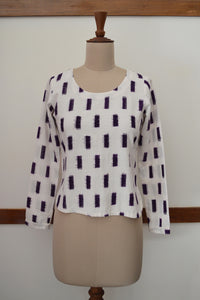 close up front view  of the Handwoven Ikat Weave Top with Round Neck, designed by Khumanthem Atelier