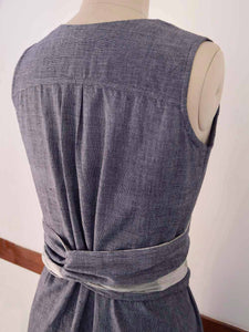 close up back view of Handwoven Obi belt wrap dress for women, designed