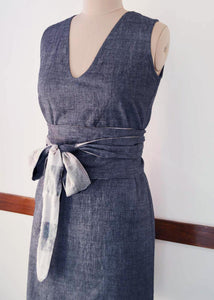 close up front view of Handwoven Obi belt wrap dress for women, designed by Khumanthem Atelier