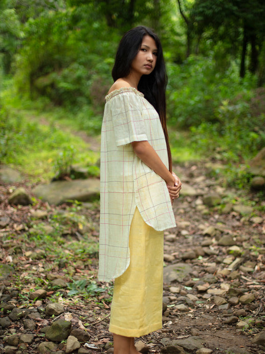 Handwoven Off-shoulder tunic with high-low hem, designed by Khumanthem Atelier