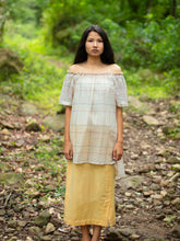 Load image into Gallery viewer, Handwoven cotton off-shoulder tunic with asymmetric hem