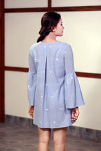 Load image into Gallery viewer, Back view of ndmade cotton tunic with patch work bell sleeves full length, designed by Khumanthem Atelier
