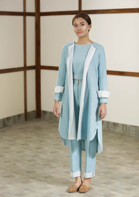 Handwoven cotton blue Twill weave reversible coat, designed by Khumanthem Atelier