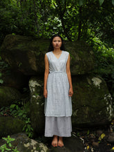 Load image into Gallery viewer, Handwoven Sleeveless Cotton Tunic with gathered front Dress, designed by Khumanthem Atelier