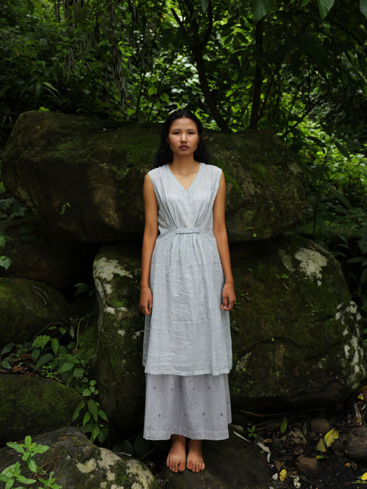 Handwoven Sleeveless Cotton Tunic with gathered front Dress, designed by Khumanthem Atelier