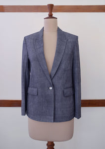 Full front view of the Handwoven Single button coat with cropped trousers, designed by Khumanthem Atelier