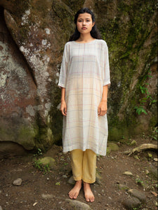 Model wearing Handwoven Dolman sleeves cotton tunic, designed by Khumanthem Atelier, front view