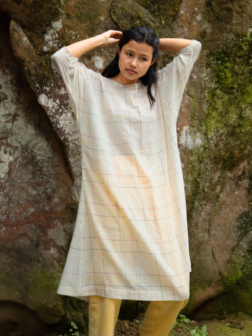 Handwoven Dolman sleeves cotton tunic, designed by Khumanthem Atelier