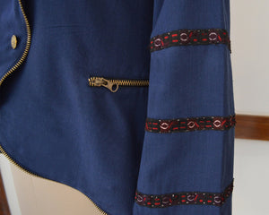 Close up view of Hand embroidered details on the jacket, designed by Khumanthem Atelier
