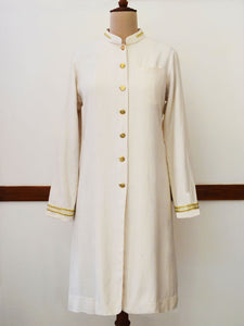 Diamond pattern fitted long coat with golden trims and buttons