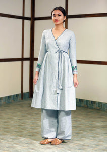 Handwoven cotton Tie-up tunic dress, full sleeves designed by Khumanthem Atelier