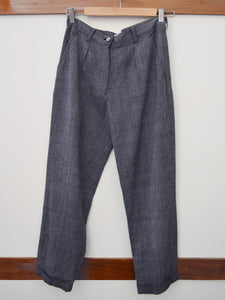 Full front view of the Handwoven cropped trousers, designed by Khumanthem Atelier