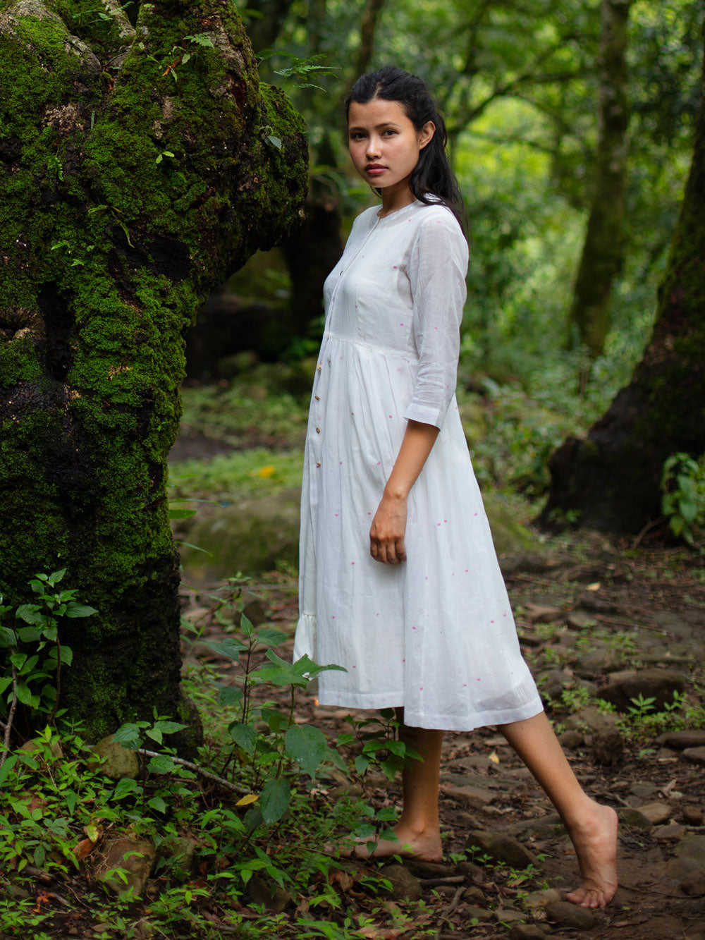 Handwoven Gathered hem quarter sleeves cotton dress, designed by Khumanthem Atelier