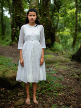 Load image into Gallery viewer, model wearing Handwoven Gathered hem quarter sleeves cotton dress, designed by Khumanthem Atelier, front view