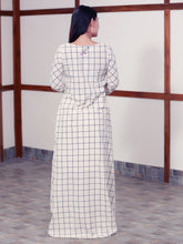 Load image into Gallery viewer, Back view of Handwoven high low checked tunic dress, designed by Khumanthem Atelier