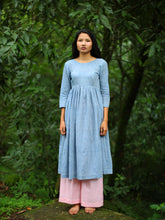 Load image into Gallery viewer, Handwoven cotton dress with white dots featuring a gathered waist and side opening