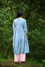 Load image into Gallery viewer, Back view of model wearing of Handwoven Gathered waist cotton dress, designed by Khumanthem Atelier