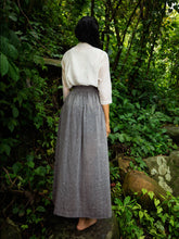 Load image into Gallery viewer, Handwoven cotton skirt with white dots featuring elasticated waist & deep pockets