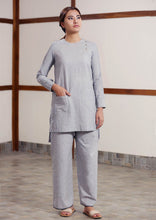 Load image into Gallery viewer, Full view of model posing with Handwoven cotton High low hem straight top, full sleeves designed by Khumanthem Atelier