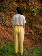 Load image into Gallery viewer, Back view of Handwoven Elastane cotton pants, designed by Khumanthem Atelier