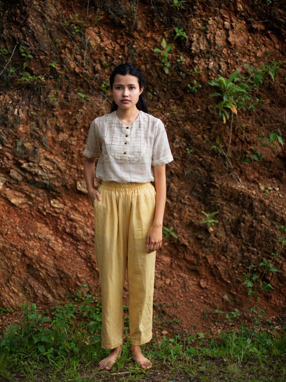 Handwoven diamond patterned cotton pants with side pockets & elasticated waist