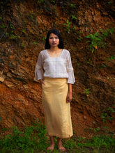Load image into Gallery viewer, Handwoven Slit front cotton skirt, designed by Khumanthem Atelier