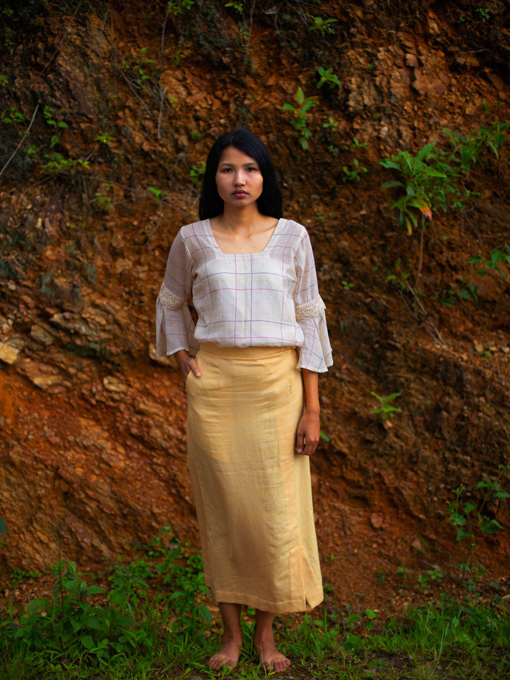 Handwoven Slit front cotton skirt, designed by Khumanthem Atelier
