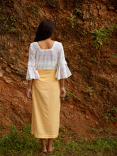 Load image into Gallery viewer, Back view of Handwoven Slit front cotton skirt, designed by Khumanthem Atelier