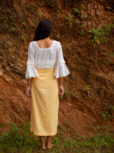 Back view of Handwoven Slit front cotton skirt, designed by Khumanthem Atelier