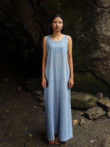 Handwoven straight cotton maxi dress with dotted designed by Khumanthem Atelier