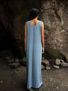 Back view of model wearing Handwoven straight cotton maxi dress with dotted designed by Khumanthem Atelier