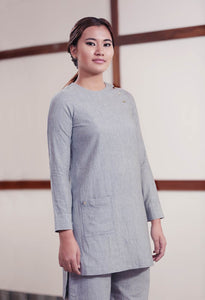 Grey high low hem straight top with shoulder placket and patch pockets