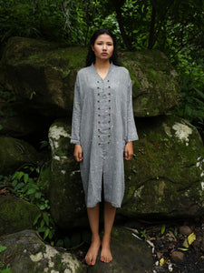 Handwoven Cotton Tunic Dress- Cheongsam inspired, designed by Khumanthem Atelier