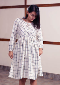 Handwoven Checked peasant dress with running stitch design, unbleached white, designed by Khumanthem Atelier