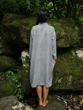 Load image into Gallery viewer, model wearing Handwoven Cotton Tunic Dress- Cheongsam inspired, designed by Khumanthem Atelier, back view