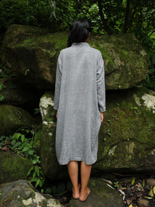 Handwoven cotton full sleeved tunic with cheongsam inspired placket detail