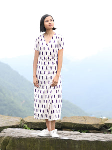 Handwoven Cross-over Ikat midi dress, designed by Khumanthem Atelier