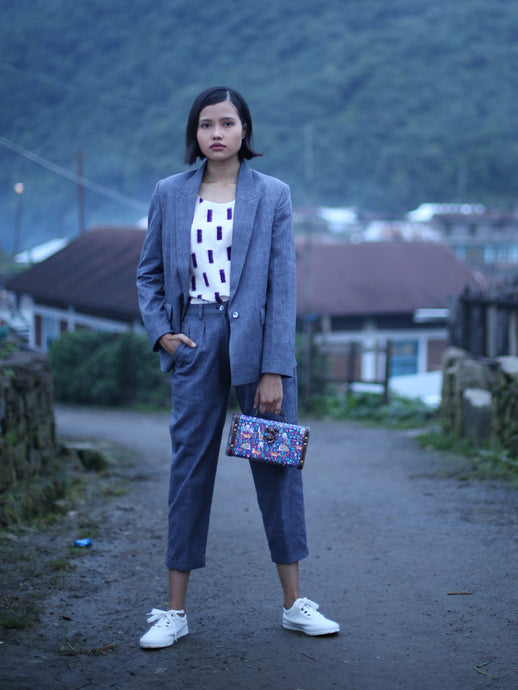 Handwoven Single button coat with cropped trousers, designed by Khumanthem Atelier