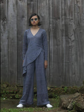 Load image into Gallery viewer, Handwoven V-neck jumpsuit with tie-up waist, designed by Khumanthem Atelier