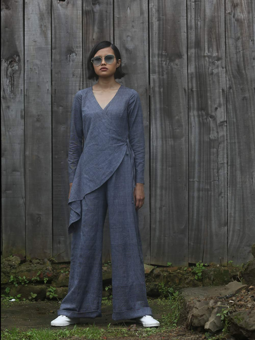 Handwoven V-neck jumpsuit with tie-up waist, designed by Khumanthem Atelier