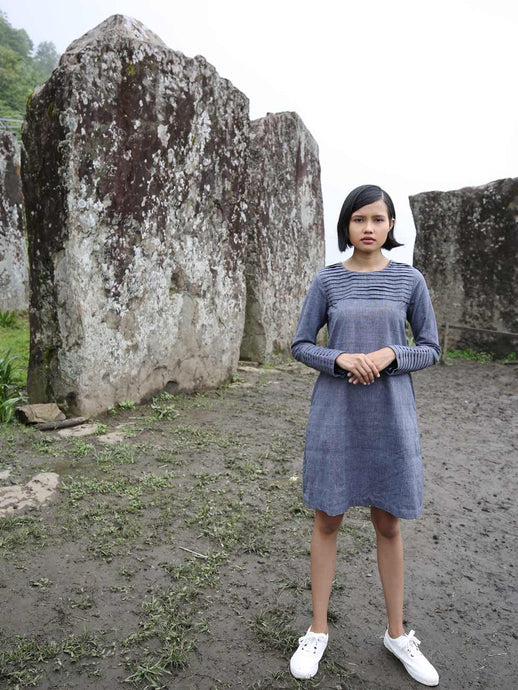 Handwoven Full sleeves pleated front dress, designed by Khumanthem Atelier