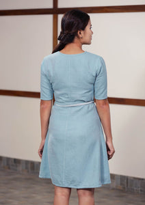 Back view of Handwoven Twill weave reversible dress, designed by Khumanthem Atelier