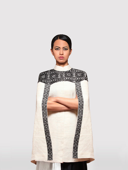 Cape Jacket with Hand embroidery details intricately designed by Khumanthem Atelier