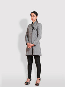 Diamond Patterned coat with braided tie-up at the collar