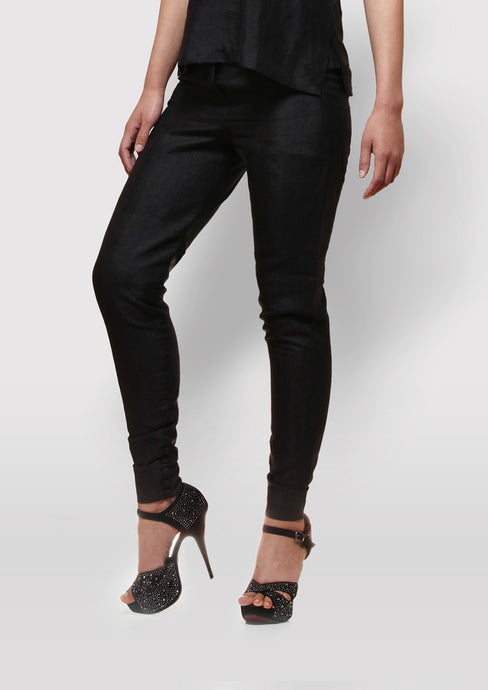 Long tight fitting silk trouser
