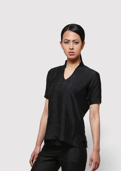 Handwoven mulberry silk blouse top, half sleeves with raised collar designed by Khumanthem atelier