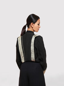 Back view of Handwoven Short kimono jacket designed by Khumanthem Atelier