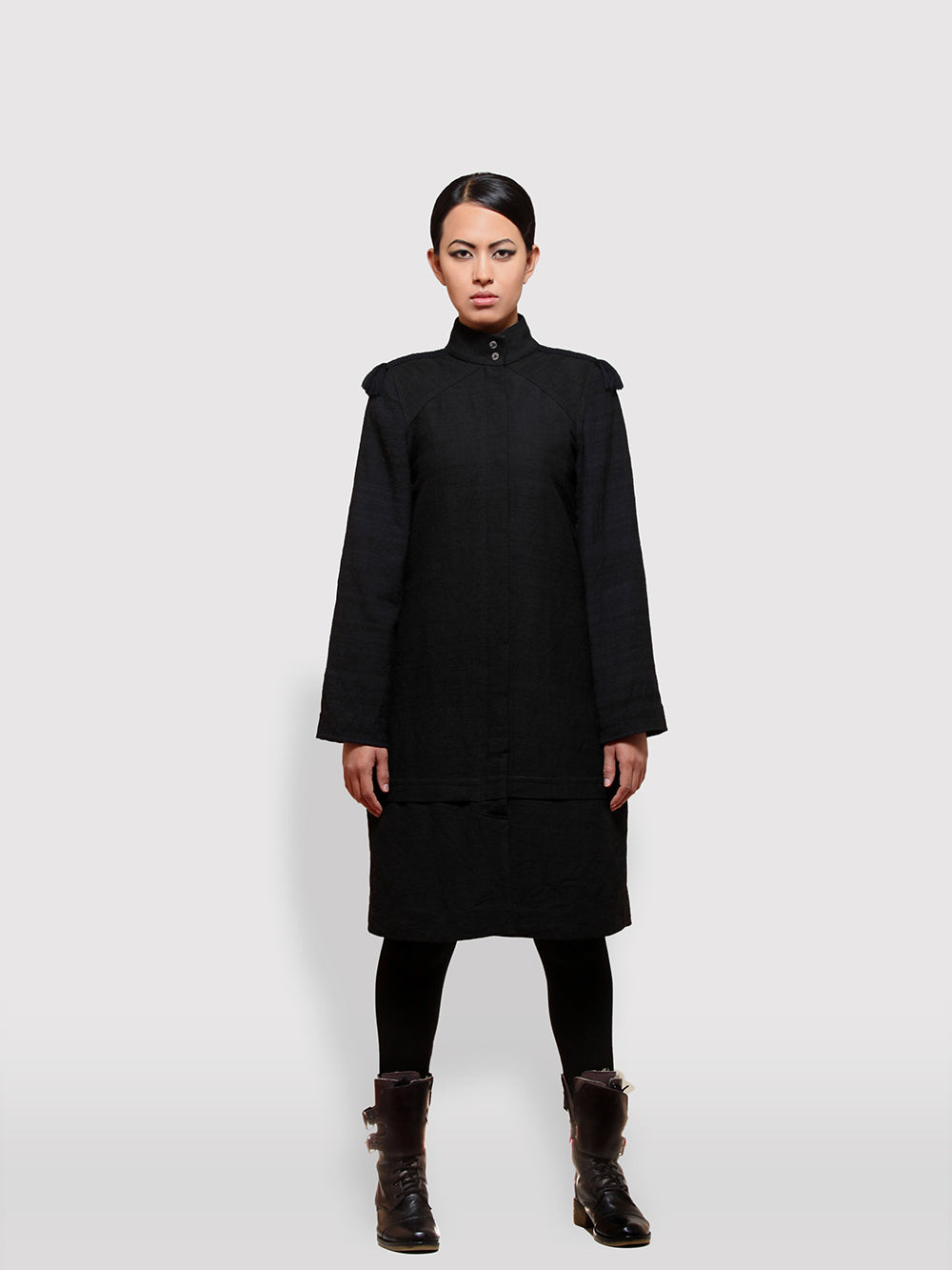 Braided Shoulder Overcoat made from handwoven mulberry and Eri silk designed by Khumanthem Atelier