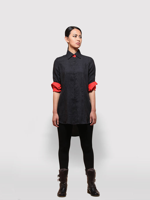 Reversible Black and Red Shirt Dress made from handwoven mulberry silk designed by Khumanthem Atelier