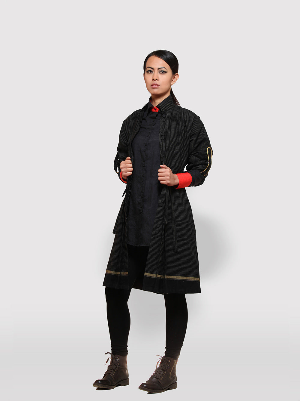 Double Belt Pleated overcoat